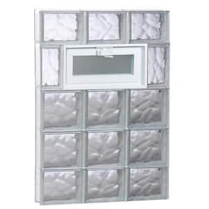 23.25 in. x 34.75 in. x 3.125 in. Frameless Wave Pattern Vented Glass Block Window