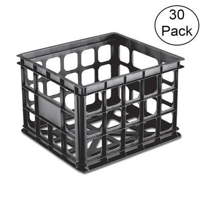 Sterilite 16929006 Plastic 3 Qt. Storage Box Crate, Black (30 Pack)