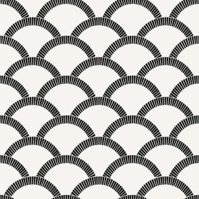Mosaic Scallop Black Peel and Stick Wallpaper (Covers 56 sq. ft.)