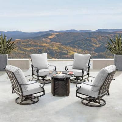Rica Luxurious Antique Copper 5-Piece Aluminum Patio Fire Pit Deep Seating Set with Light Grey Cushions