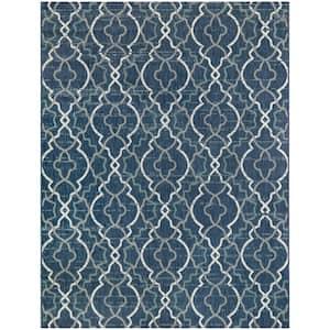 Trellis Blue 5 ft. x 7 ft. Abstract Indoor/Outdoor Area Rug