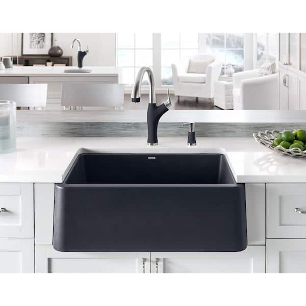Blanco Ikon Farmhouse Apron Front Granite Composite 30 In Single Bowl Kitchen Sink Anthracite 401732 The Home Depot