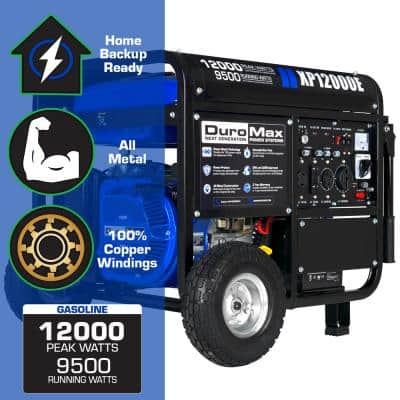 12,000-Watt/9,500-Watt Electric Start Gasoline Powered Portable Generator, Home Backup and RV Ready, 50 States Approved