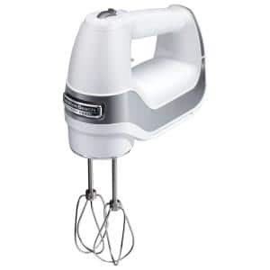 Professional 5-Speed White Hand Mixer with Stainless Steel Attachments and Snap-On Storage Case