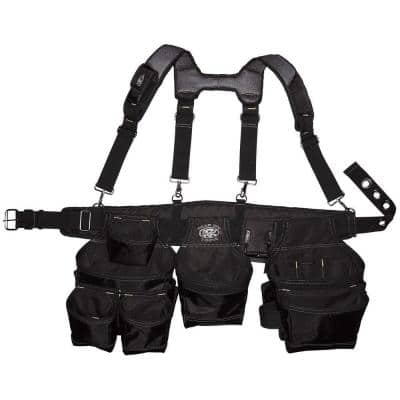 Professional Framers 3 Pouch Tool Storage Suspension Rig with LoadBear Suspenders in Black
