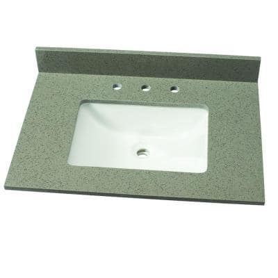 31 in. W Quartz Single Vanity Top in London Fog with White Sink