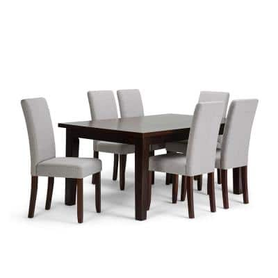 Acadian 7-Piece Dining Set with 6 Upholstered Parson Chairs in Cloud Grey Linen Look Fabric and 66 in. Wide Table