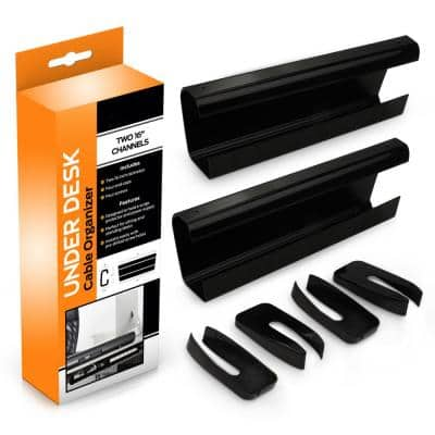 Under Desk Cable Organizer Cord Cover in Black