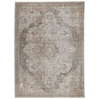 Vibe Ginevra Gray/Ivory 5 ft. 3 in. x 7 ft. 6 in. Medallion Rectangle Area Rug