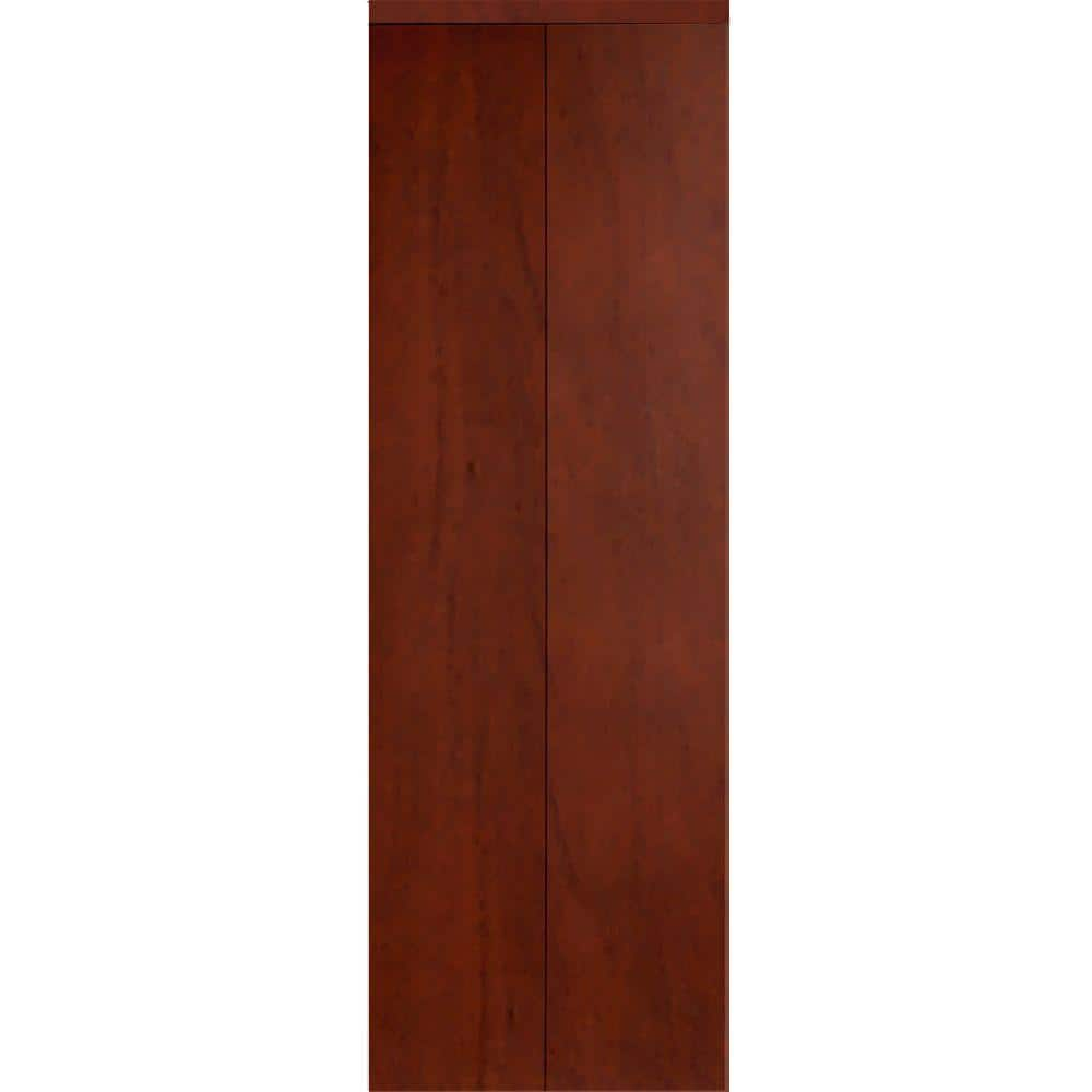 Impact Plus 24 In X 80 In Smooth Flush Solid Core Cherry Mdf Interior Closet Bi Fold Door With Matching Trim Bfc342 2480m The Home Depot