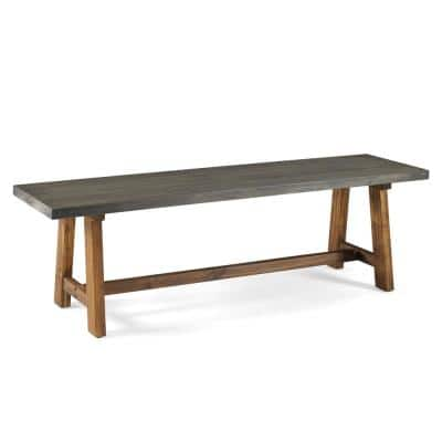 60 in. Grey/Brown Solid Wood Dining Bench