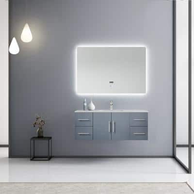 Geneva 48 in. W Vanity in Dark Grey with Marble Vanity Top in White Carrara with White Basin 48 in. LED Mirror Faucet