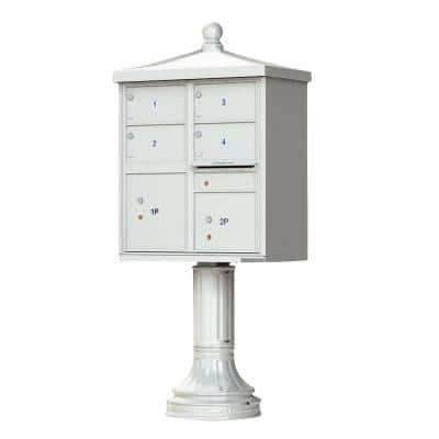 1570 Series 4-Large Mailboxes, 1-Outgoing, 2-Parcel Lockers, Vital Cluster Mailbox with Vogue Traditional Accessories