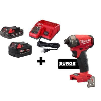 Milwaukee M18 FUEL Surge 18-Volt Lithium-Ion Brushless Cordless 1/4-in Hex Impact Driver w/ (1) 5.0 Ah & 2.0 Ah Battery/Charger