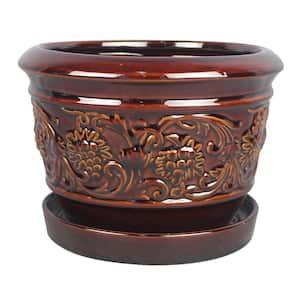 8 in. Dia Brown Rustic Damask Ceramic Planter