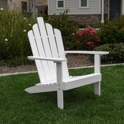 Marley White Wood Adirondack Outdoor Patio Chair