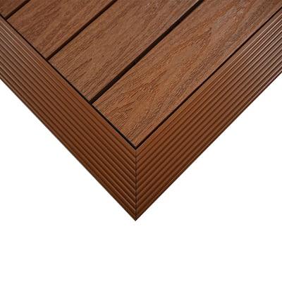 1/6 ft. x 1 ft. Quick Deck Composite Deck Tile Outside Corner Fascia in Honduran Mahogany (2-Pieces/Box)
