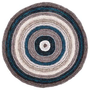 Drey Ombre Shag Blue Multi 6 ft. Round Rug