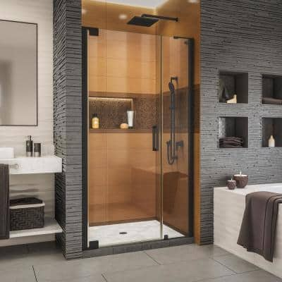 Elegance-LS 45-3/4 in. to 47-3/4 in. W x 72 in. H Frameless Pivot Shower Door in Satin Black