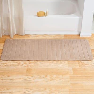 Taupe 24.25 in. x 60 in. Memory Foam Striped Extra Long Bath Mat