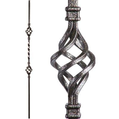 Twist and Basket 44 in. x 0.5 in. Copper Vein Double Basket Solid Wrought Iron Baluster