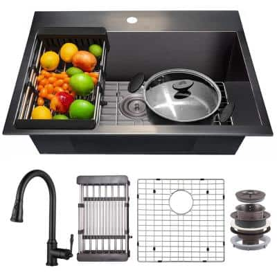 All-in-One Matte Black Finished Stainless Steel 25 in. x 22 in. Drop-In Single Bowl Kitchen Sink with Pull-Down Faucet