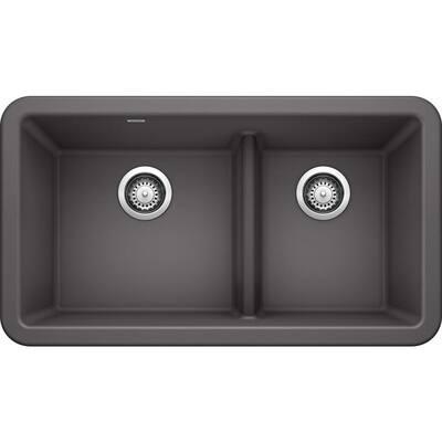 Ikon Cinder Granite 33 in. Double Bowl Farmhouse Apron Kitchen Sink