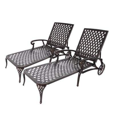 Antique Bronze 2-Piece Cast Aluminum Reclining Outdoor Chaise Lounge without Cushion with Wheels