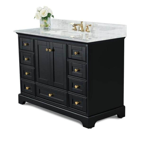 Reviews For Ancerre Designs Audrey 48 In W X 22 In D Bath Vanity In Black Onyx With Marble Vanity Top In White With White Basin And Gold Hardware Vts Audrey 48 Bo Cw Gd