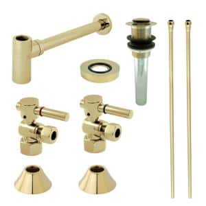 Trimscape Modern 1-1/4 in. Brass Plumbing Sink Trim Kit with Bottle Trap and Drain in Polished Brass