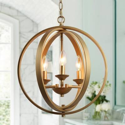 Modern Globe Chandelier Pendant Light Freya 3-Lifht Champagne Gold Cage Kitchen Island Chandelier Light