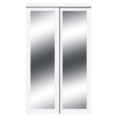 72 in. x 80 in. Harmony White Mirror MDF Bypass Sliding Closet Door