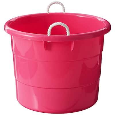 18 gal. Rope Handle Tub Storage Tote in Pink (2-Pack)