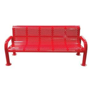 6 ft. Red Metal Perforated Roll Form U-Leg Bench with Back and Arms