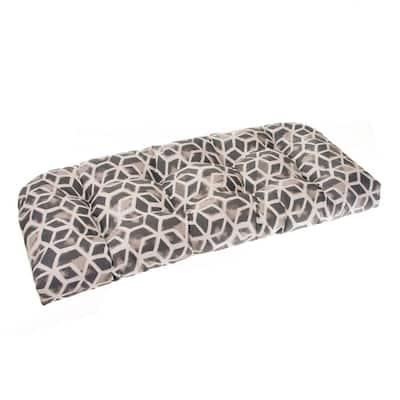 Cubed 44 in. x 19 in. x 5 in. Outdoor Rectangular Loveseat Cushion in Grey