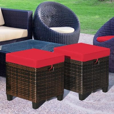 Wicker Outdoor Ottoman with CushionGuard Red Cushion (2-Pack)