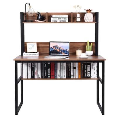 24 in. Rectangular Walnut P2 MDF 0-Drawer Computer Desk with Hutch Bookshelf