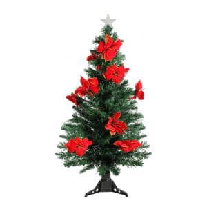 4 ft. Pre-Lit Fiber Optic Artificial Christmas Tree with Red Poinsettias - Multi