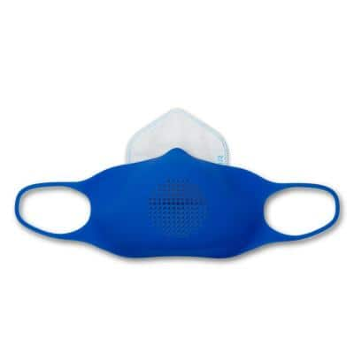 Silicone Reusable Large Adult Face Mask Kit with 5 disposable filters, Azure