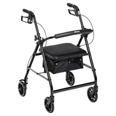 Rollator Rolling Walker with 6 in. Wheels, Fold Up Removable Back Support and Padded Seat, Black