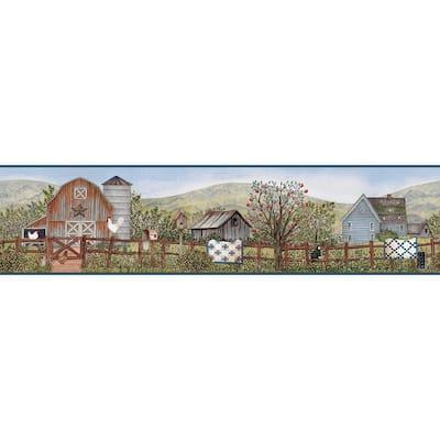 Clarksville Blue Farm Blue Wallpaper Border