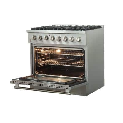 Galiano 36 in. Freestanding Pro Gas Range with 6 Sealed Burners and Electric 240-Volt Oven in Stainless Steel