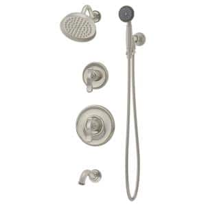 Winslet 2-Handle Tub and 1-Spray Shower Trim with 1-Spray Hand Shower in Satin Nickel (Valve not Included)