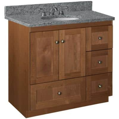 Shaker 36 in. W x 21 in. D x 34.5 in. H Simplicity Vanity with Right Drawers in Medium Alder