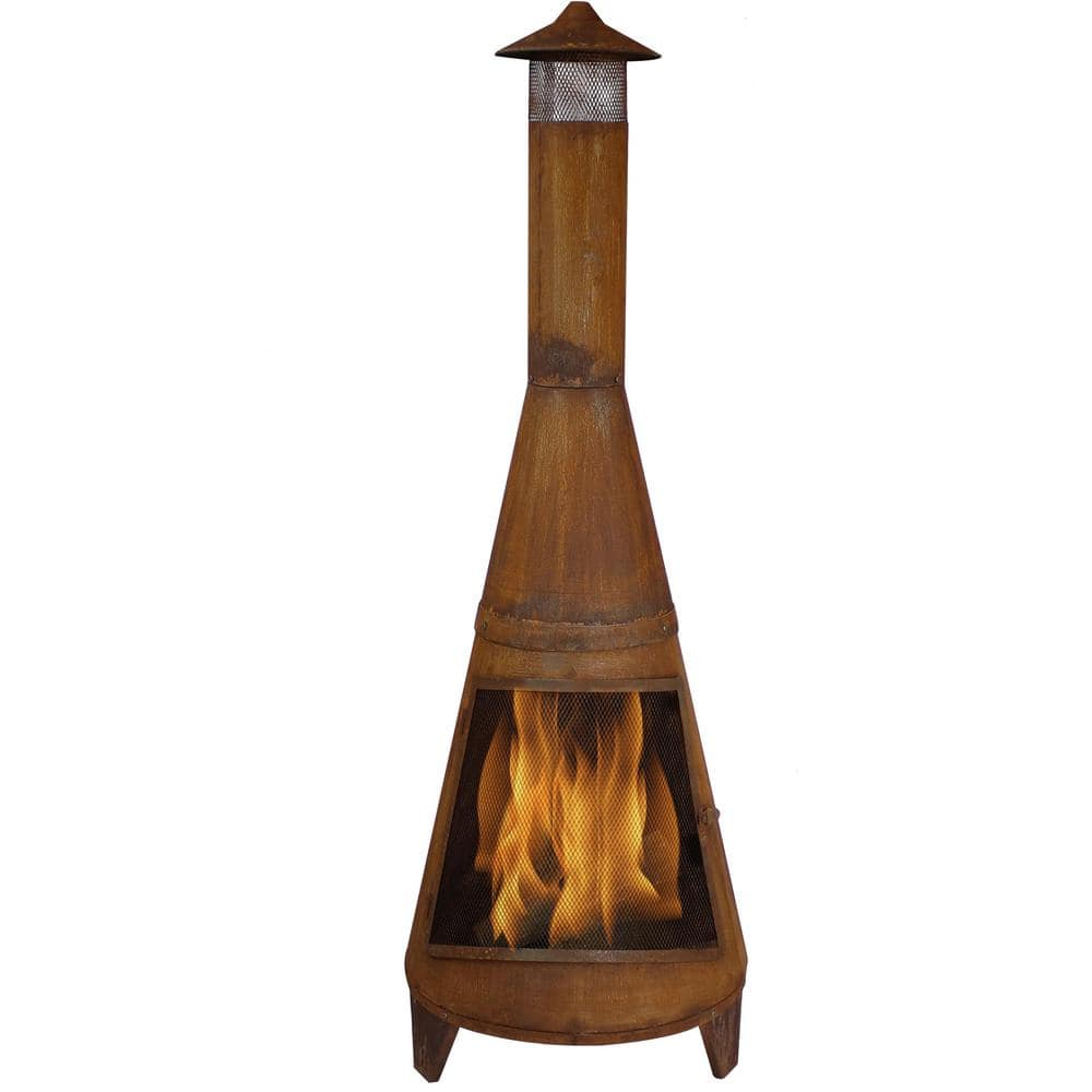 Sunnydaze Decor 70 In Rustic Outdoor Wood Burning Backyard Chiminea Fire Pit Rcm 504 The Home Depot