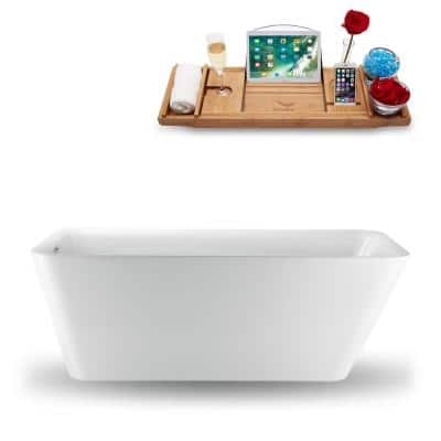 66.9 in. Acrylic, Fiberglass Flatbottom Non-Whirlpool Bathtub in Glossy White
