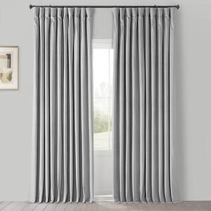 Reflection Grey Velvet Rod Pocket Blackout Curtain - 100 in. W x 96 in. L