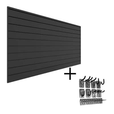 PVC Slatwall 8 ft. x 4 ft. Charcoal Hook Kit Bundle (20-Piece)