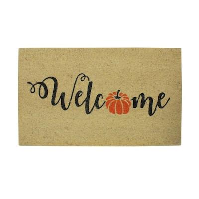 18 in. Orange Pumpkin Welcome Fall Harvest Door Mat Decor