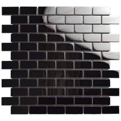 Meta Standard Subway Mirrored 11-3/4 in x 11-3/4 in Stainless Steel Metal Over Ceramic Mosaic Tile (0.96 sq. ft./Each)